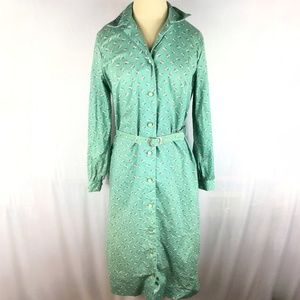 Vintage dress long sleeve shirt green floral belt